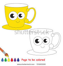 funny violet cup coloring book educate stock vector 729894784