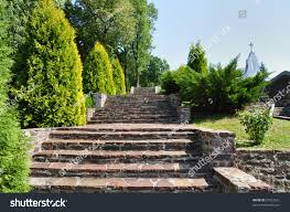 Beautiful Stairs by Beautiful Stairs Garden Jazlowiec Yazlovets Castle Stock Photo