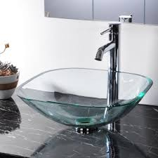 bathroom tempered glass vessel sink natural clear square shape