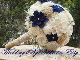 wedding flowers keepsake fall bouquets burlap lace navy blue sola bouquet blue bouquet