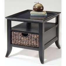 End Table With Shelves by Square Black Glossy Wooden Side Table With Shelf And Wicker Drawer