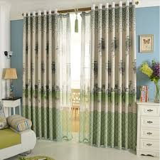 Green Kids Curtains Discount Cartoon Owl Beige Polyester Kids Curtains