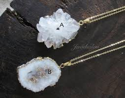 white crystal necklace images White crystal necklace raw agate slice necklace personalised jpg