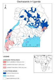 Map Of Uganda Preliminary Map Of The Occurrence Of Geohazards Landslide And