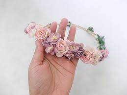 flower headpiece mauve and pink flower crown bridal flower headpiece