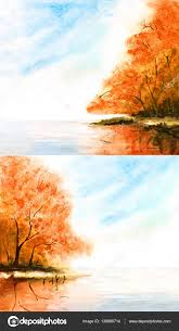 watercolor nature background with orange trees and lake sky cl stock photo