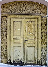 russian huts beautiful wooden door ornaments detail decay