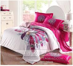 Us King Size Duvet Dimensions Aliexpress Com Buy Peacock Bird Print Pink Comforter Bedding