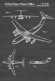 Aviation Home Decor Lockheed C 141 Airplane Patent Airplane Blueprint Pilot Gift