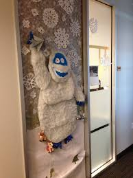 Office Christmas Door Decorating Contest Ideas Abominable Snowman Complete With Reindeer Under His Feet