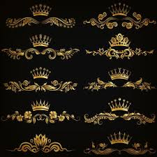 crown with golden ornaments luxury vector 01 vector ornament