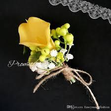 calla corsage yellow calla wedding brooch pins artificial flowers corsage