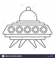ufo flying saucer icon outline style stock vector art