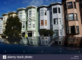 usa san francisco beautiful victorian style houses on ashbury