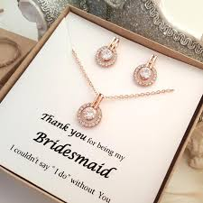 necklace set gift box images Rose gold bridesmaid earrings and necklace set message gift box jpg