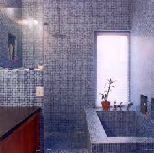 wonderful purple mosaic tiles bathroom design with wooden bath
