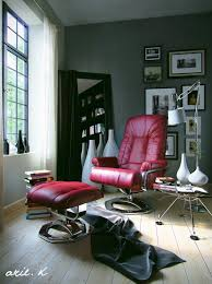 reading space ideas interior sophisticated red leather reading chair with footstool on