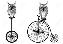 clipart owl black and white owls with vintage bicycle royalty free cliparts vectors and