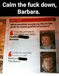 Calm The Fuck Down Meme - calm the fuck down barbara vox pop what penalties would you like