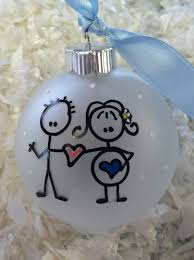 stick figure expecting family ornament by somedaybythesea on etsy