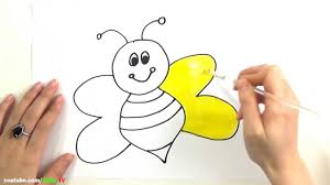 draw and coloring honey bee coloring page and learn colors for