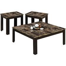 Coffee Table Set Monarch Table Set 3pcs Set Cappuccino Marblelook Top Walmart Com