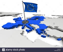 Eu Countries Map 3d Map Of European Union With Flag And Eu Countries Highlighted In