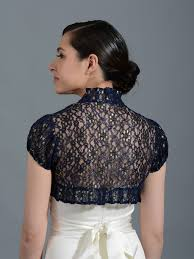 navy blue short sleeve corded lace wedding bolero jacket lace 043
