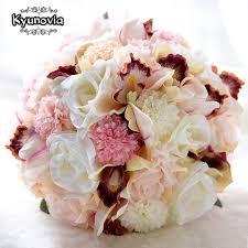 Silk Wedding Flowers Aliexpress Com Buy Kyunovia Silk Wedding Bouquet Wedding Flowers