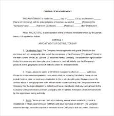 reseller contract template distribution agreement template 11 free word pdf documents