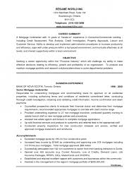Mortgage Loan Officer Resume Sample by Mortgage Underwriter Resume Objective