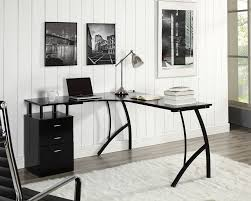 l shaped corner computer desk office home pc table in black or