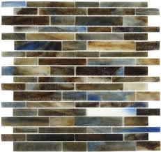 Blue Glass Kitchen Backsplash Botanical Glass Murano Vena Glass Mosaic Random Bricks Brown