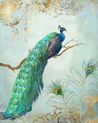 regal peacock 1 on tree branch w feathers gold leaf painting by