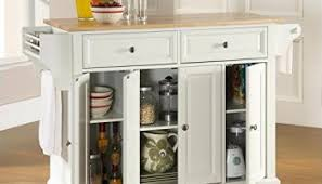crosley furniture natural wood top kitchen cart island white