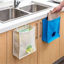 kitchen storage bag drawer cabinet door back garbage bag holder