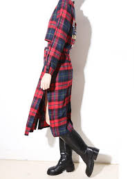 red plaid maxi shirt dress with pu collar and epaulet abaday