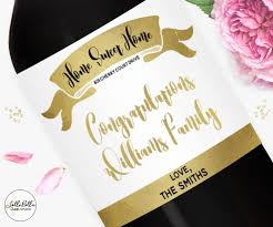 housewarming champagne label custom wine label first home