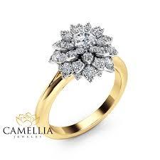 sunflower engagement ring flower engagement ring 14k two tone gold flower ring
