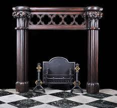 antique victorian carved oak neo gothic revival fireplace mantel