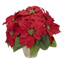 silk flower nearly 13 0 in h poinsettia with ceramic vase silk