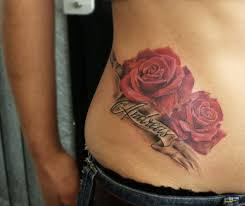 flower tattoo on hip realistic rose tattoo red roses tattoo realistic colour roses