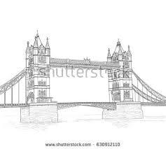 river thames panorama tower bridge sketch stock vector 342604607