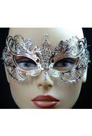 metal masquerade mask venetian metal silver laser cut masquerade mask with rhinestones