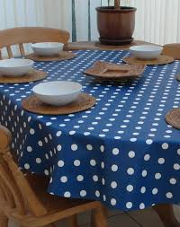 decor tips inspiring white polka dot with blue oval tablecloth