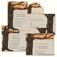Tree Wedding Invitations Berryberrysweet Com Fall Oak Tree Wedding Invitations
