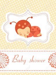 an elegant baby shower card with baby ladybug sleeping