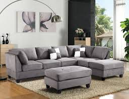 Gray Microfiber Sectional Sofa Sectional Sofa Corner Sectional Sofa Small Gray Sectional