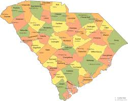 map of and south carolina south carolina county map