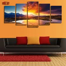 5 piece colorful clouds mountains lake landscape canvas painting